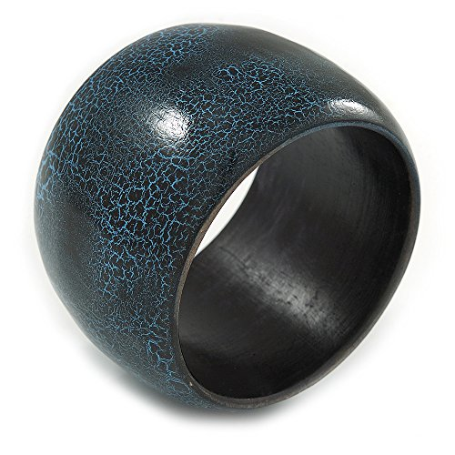 Avalaya Breiter klobiger Holz-Armreif mit rissigem Design, blaugrün/schwarz – M – 19cm lang