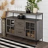 Walker Edison Furniture AZU48RAD3DSG Industrial 3-Door Buffet Sideboard for Kitchen Dining Room, 48, Slate Gray