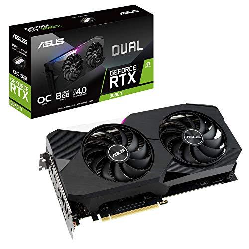 ASUS Dual GeForce RTX 3060 TI OC Edition Gaming Grafikkarte (Nvidia Ampere, DLSS, PCIe 4.0, 8GB DDR6 Speicher, 2x HDMI 1.2, 3x DisplayPort 1.4a, DUAL-RTX3060TI-O8G)