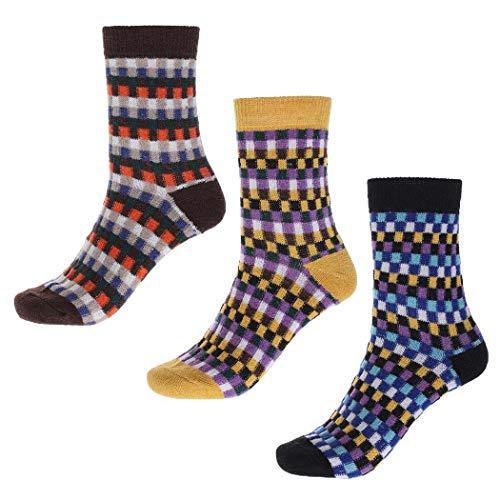IYOU Calcetines de lana vintage para mujer, color azul, acogedor, de lana, étnico, invierno, al aire libre, senderismo, Kint Crew Calcetines para mujeres y hombres (3 pares)