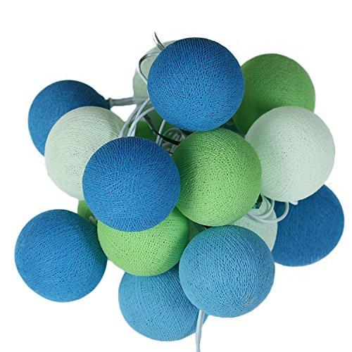 ART-CRAFT LED Stimmungs Textil-Lichterkette batteriebetrieben mit 20 handgefertigten Baumwollkugeln Leuchtfarbe grün - blau - weiß