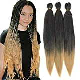 Befunny 8Pieces/Lot 24Inch Pre Stretched Braiding Hair Professional Easy Braid Crochet Hair Ombre Human Hair For Braids/Twist Itchy Free Yaki Perm Straight Synthetic Hair Dip in Hot Water Set T1B/27#
