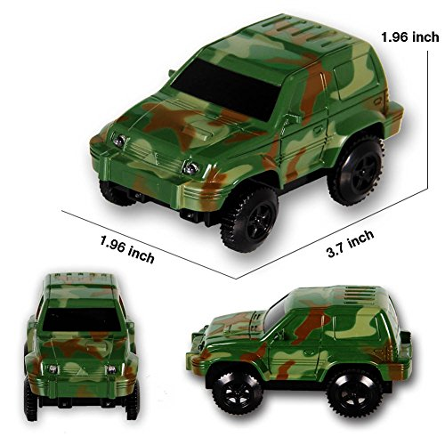 HOMOFY Race Cars Toy For Independent & Track Play / Track Accessories Compatible Kids Mini Camouflage Track Car Play Set (2-Pack)