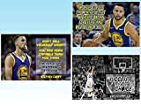 Stephen Curry Posters 3 PACK Quote Stephen Curry Poster Quote Cool Golden State Warriors Basketball Sports Décor Coaching Wall Art Growth Mindset Teacher Educational Teaching Learning Mindsets PP07