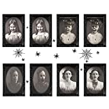 4 Pack Halloween Horror Portrait Photo Decorations Spooky Frame 3D Changing Face Scary Picture Frame Haunted Wall Decoration, Halloween Creepy Home Decoration with Spider stickers