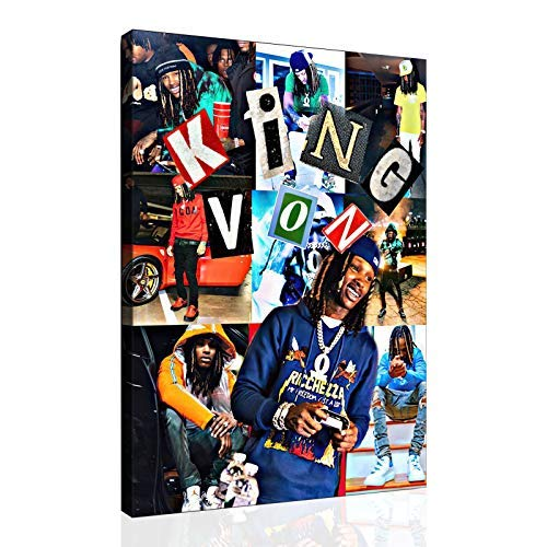 SANTA RONA Rapper King Von Hip hop Poster Home Decor Canvas Wall Art Print Posters Paintings Pictures for Bedroom Living Room (08x10inch,Canvas Rolls)