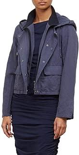 Kenneth Cole New York Women's Linen Blend Hooded Cropped Bib Jacket