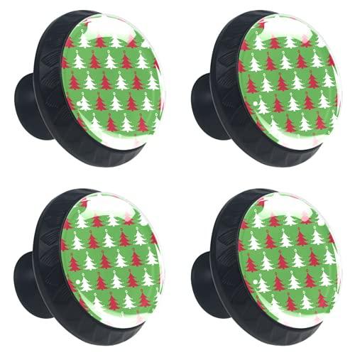 KAMEARI Tiradores de cajón con forma de círculo de cristal, 4 unidades, color rojo y blanco