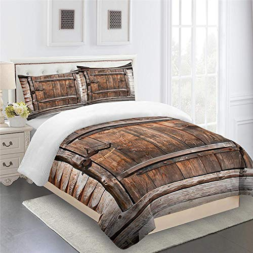 CHNXXL 3D Printed Wood Pattern Duvet Cover Set King Size 220X230Cm Ultra Soft Microfiber Bedding Sets 3 Piece With 2 Pillowcases Cover With Zipper Closure Microfiber For Children Teens