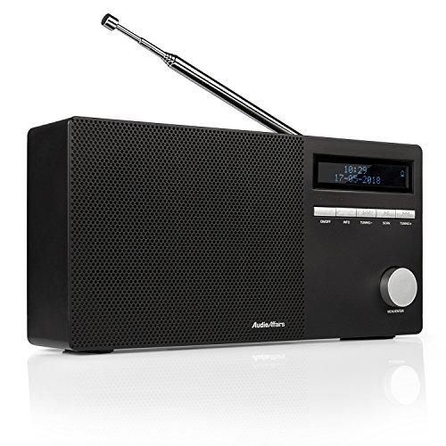 AudioAffairs DAB 010 Digitalradio mit Bluetooth, DAB Plus Radio, 8 Std. Akku, kleines UKW Radio mit LCD-Display, SD-Kartenslot, AUX IN & OUT, Senderspeicher, Wecker, Schwarz