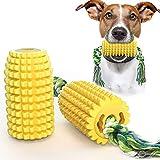 Yuning Juguete para Perros, Juguete para Masticar maíz, con Cepillo de Dientes de Perro en Forma de maíz de Cuerda Fuerte, Juguete de Resistente Caucho Natural para Perros Pequeño Medianos y Grandes