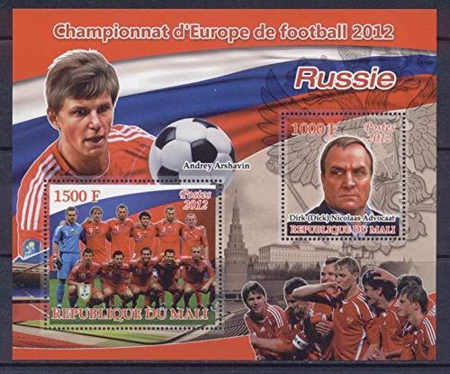 Mali 2012 Miniature Sheet European Football 2 Values Russia Sport Football Andrey Arshavin Dick Advocaat MNH JandRStamps