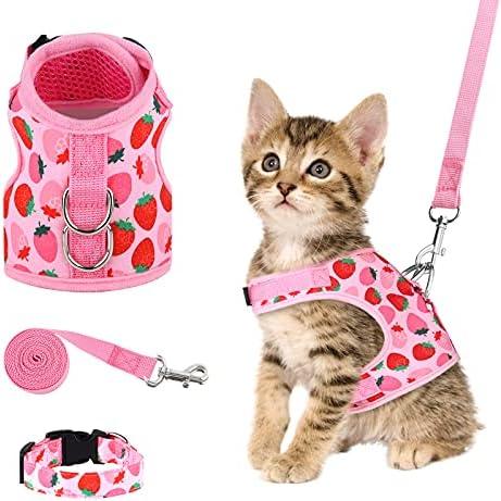 URATOT Cat Harness and Leash Set Cat Vest Harness Pet Leash and Collar Set Pet Harness for Kitties Puppies Small Pets Outdoor Walking