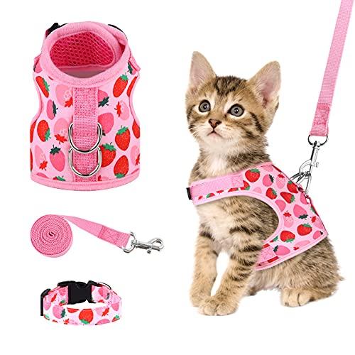 URATOT Cat Harness and Leash Set Cat Vest Harness Pet Leash and Collar Set Pet Harness for Kitties Puppies Small Pets…