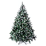 Senjie Artificial Christmas Tree 6,7,7.5 Foot Flocked Snow Trees Pine Cone Decoration...