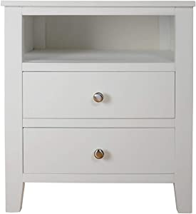 Brooklyn White Bedside Table with 2 drawers and shelf, metal runners, dovetail joints, ASSEMBLED