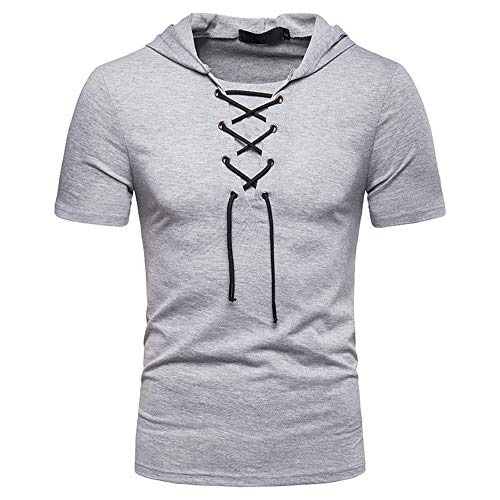 Deportiva Camisa Hombre Verano Slim Fit Cuello V Hombre Camiseta Color Sólido Manga Corta Correr Camisa Básica Sin Cuello Camisa Wicking Secado Rápido Capucha T-Shirt C-Light Grey L