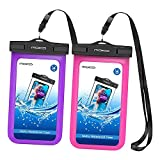 MoKo Waterproof Phone Pouch [2 Pack], Underwater Waterproof Cellphone Case Dry Bag Compatible with iPhone 12 Mini/12 Pro/11 PRO Max/X/XS/XR/XS Max/8/7, Samsung S21/S10/S9/S8 Plus/S10 e, Viola+Magenta