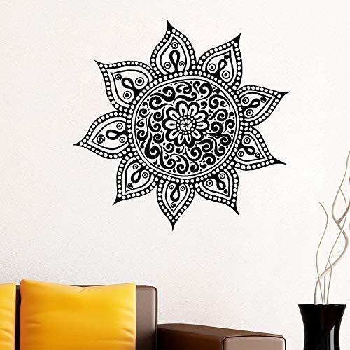 Yoga Flower Mehndi Indian Mandala Buddha Symbol Tatuajes de pared Budista Decoración del hogar Arte Adhesivo Mural Adhesivo extraíble Calcomanía otro color 44x43cm