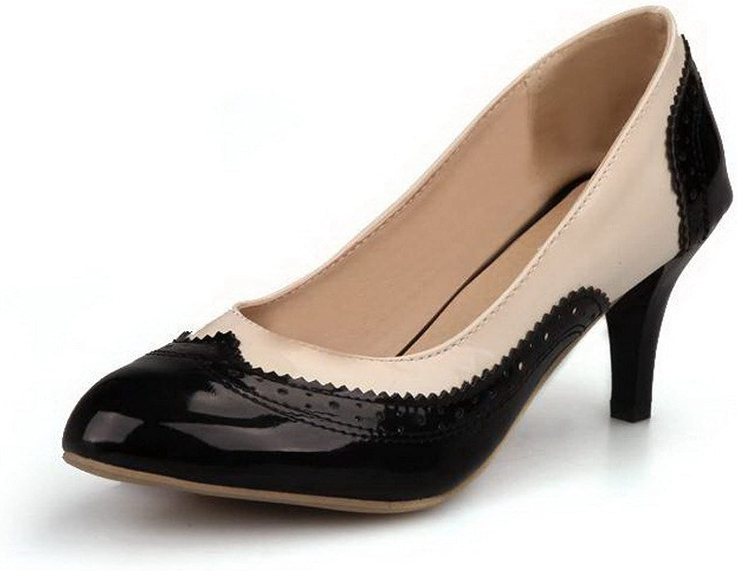 WeiPoot Women's Round Closed Toe Patent Leather Pull-On Kitten-Heels Pumps-shoes, Black, 39