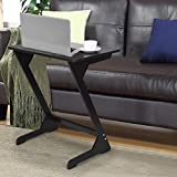 z shaped side table - Portable and Foldable Laptop Tray Table - Z Shaped Snack End Couch Console Table Laptop Desk with Storage Bag for Bed Sofa Eating Writing Reading Living Room (Black)