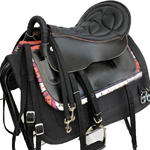 BLCC - Juego de silla de montar para caballos de carrera, silla de montar de caballo y equipamiento de silla de montar para equitación de campo cruzado, resistente, barandilla de seguridad neg
