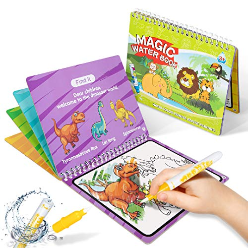 HahaGift Kids Dinosaur Toys for 1 2 3-5 Year Old Boys Girls Gifts, Toddler Art Kit Toys Magic Water Doodle Book, Best Learning Gifts for 3 2 1 Year Old.