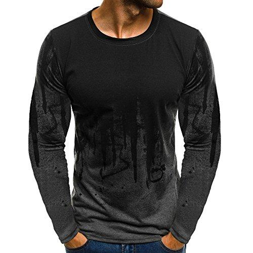 Xmiral Tops Sweatshirt Herren Slim Fit Short Sleeve/Langarm-Muskel-beiläufige Hemden(XL,Lange Ärmel-Grau)