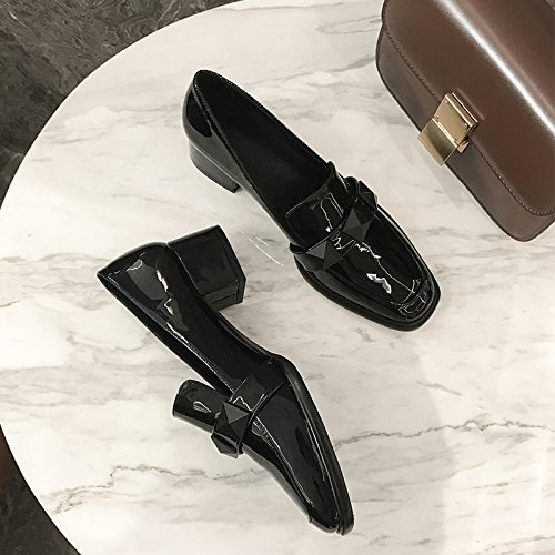 Xue Qiqi Escarpins Tête Carrée Sauvage avec des Chaussures Bouche Peu Profonde Femelle épaisse avec des Pieds Paresseux Chaussures Femme
