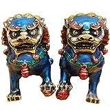 Un par de estatuas de Color Cobre Puro Fengshui Beijing Leones Prosperidad Esculturas Figuras Guardián Mal Fu Foo Perros Leones