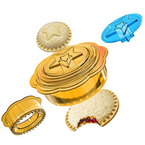 6 en 1 Sandwich Cutter and Sealer – Uncrustables Maker – Panino Cookies Cutter y sellador divertido en forma de estrella, descorazonador para comida y fiambrera ideal para niños y adultos, ama