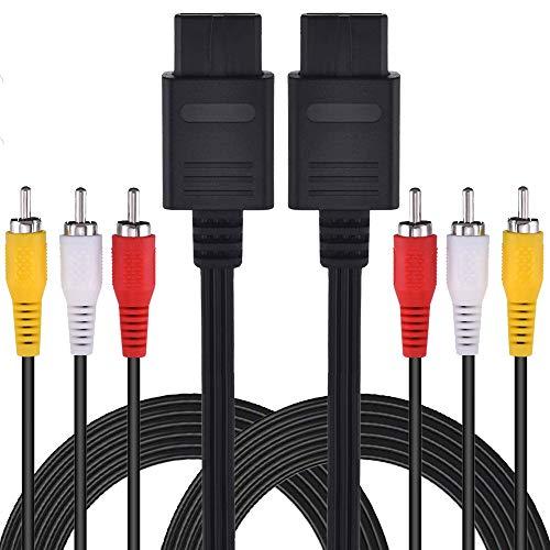 2Pcs Pack TPFOON 6ft Composite AV Cable Cord Compatible with Nintendo 64 N64, Super Nintendo SNES, Gamecube GC
