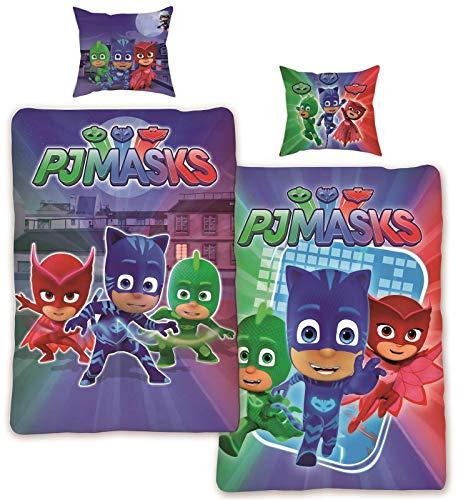 Kinder-Bettwäsche PJ Masks Pyjamahelden 135x200 cm 100% Baumwolle | PJ Mask Bettwäsche-Set Öko-Tex Standard Deutsche Standardgröße