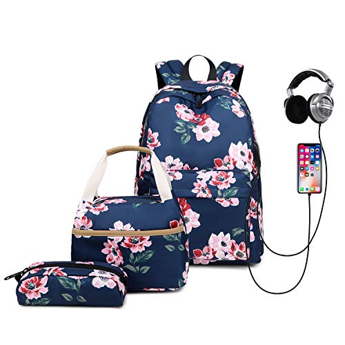 3pcs Fashion Flower School Backpack, with USB Charging Port Student Bookbag Lightweight Laptop Bag with Lunch Bags and Pen Case for Women and Girls (Navy Blue)