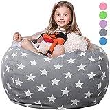 WEKAPO Stuffed Animal Storage Bean Bag Chair Cover for Kids | Stuffable Zipper Beanbag for Organizing Children Plush Toys | 38' Extra Large Premium Cotton Canvas