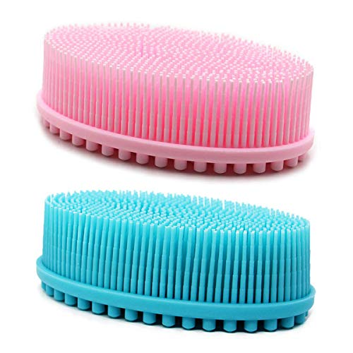 DNC Silicone Body Scrubber Exfoliating Bath Body Brush for Shower 2 Pack