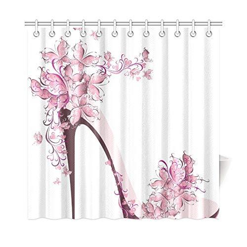 Zemivs Wohnkultur Bad Vorhang Schuhe auf High Heel dekoriert Schmetterlinge Polyester Stoff wasserdicht Duschvorhang für Badezimmer, 72 x 72 Zoll Duschvorhang Haken enthalten