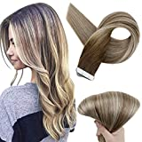 Full Shine 14 Inch Tape In Hair Extensions Human Hair Ombre Balayage Hair Color Dark Brown Roots Color 3 Fading To 8 Light Brown And 22 Blonde Highlighted Extensions 20 Pcs 50 Grams