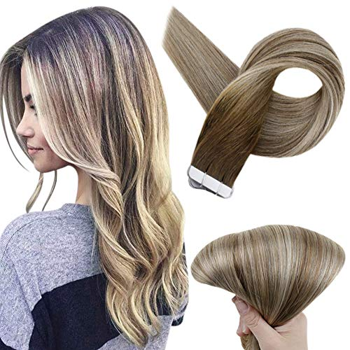 Full Shine 22 inch Tape Human Hair Extensions Seamless Pastel Invisible Tape Real Hair Extensions Dark Brown Roots Color #3 Fading to #8 and #22 Blonde Highlighed Extensions