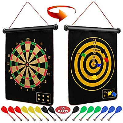 Ranslen Magnetic Dart Board for Kids and Adults, Double Sided Board Games Set, Indoor Outdoor Darts Game with 15pcs Magnetic Darts, Safety Dartboard Toy Games for Fun Gifts