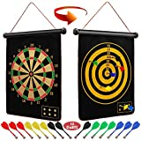 Ranslen Magnetic Dart Board for Kids and Adults, Boy Gifts Toys, Double Sided Board Games Set, Indoor Outdoor Darts Game with 15pcs Magnetic Darts, Safety Dartboard Games Kids Fun Toys Gifts
