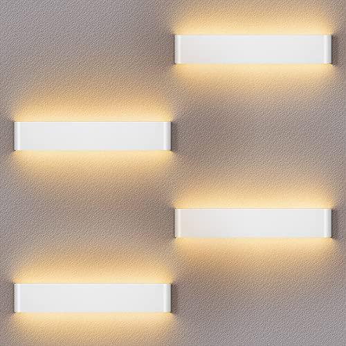 4 Pack Applique Murale LED 12W Lumineuse Appliques Murales Intérieure Applique Murale Moderne Lampe Murale Interieur Hall d'entrée Escaliers Hôtels Lumières, Lumière Blanche Chaude