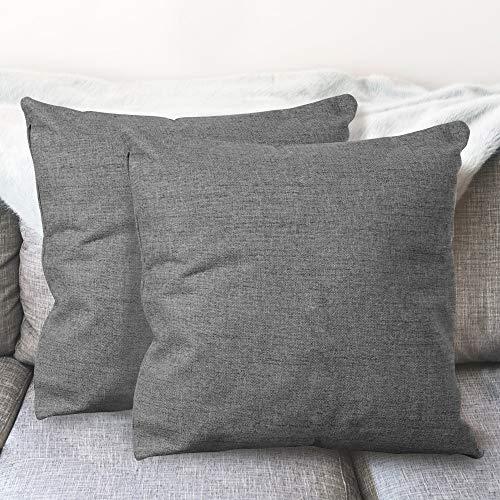 BCASE Juego de 2 Fundas de Cojin Lino 45x45 cm, Funda Cojin Decorativa, Cómodas y Modernas para Habitación, Sofá, Cama etc Color Gris Oscuro