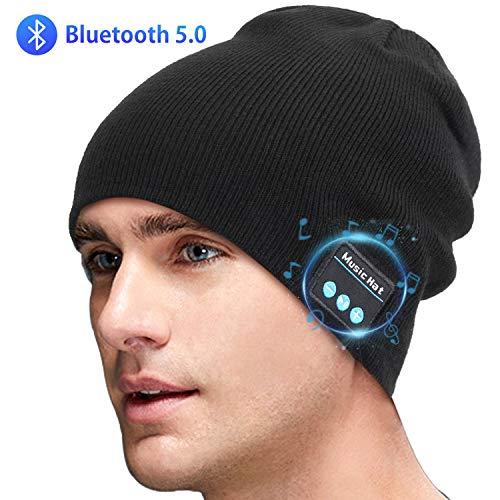 Sminiker Bluetooth Beanie Mütze mit V5.0 Unisex Kabellose Kopfhörern Winter Outdoor Sport Strickmütze mit Kabellosem Kopfhörer Headset Speaker Mic mit Freisprech Kompatibel Geschenke,Schwarz