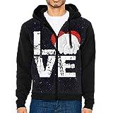 JUN7MING HAT Men's Sleeve Hoodie Saint Bernard Dog Lovers Zip Up Sportswear Jackets Black
