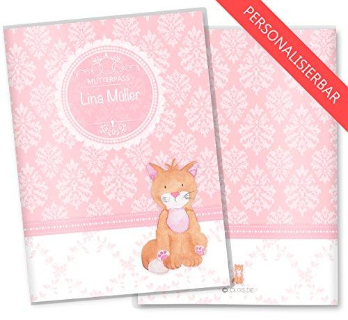 Mutterpasshülle 3-teilig rosa Little Lady SchutzhülleSchwangerschaft Geschenkidee personalisierbar mit Namen (Mutterpass personalisiert, Katze)