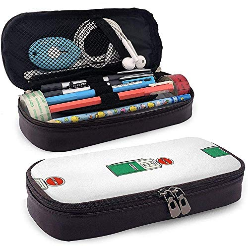 Tankstelle Pump Muster Leder Bleistift Fall Tasche Geldbörse Stift Stationäre Tasche Kosmetische Make-up-Tasche