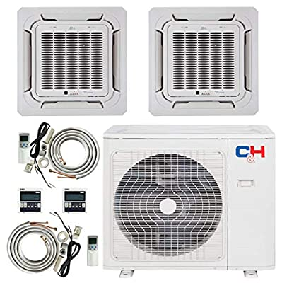 COOPER AND HUNTER Dual 2 Zone 9000 12000 Ductless Mini Split Ceiling Cassette Air Conditioner Heat Pump Energy Star Rated Multi Sophia Series