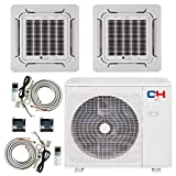 COOPER AND HUNTER Dual 2 Zone 12000 12000 Ductless Mini Split Ceiling Cassette Air Conditioner Heat Pump Energy Star Rated Multi Sophia Series