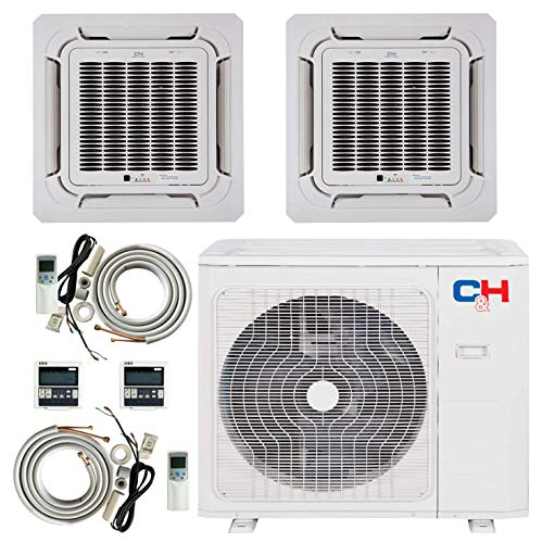 COOPER AND HUNTER Tri 3 Zone Ductless Mini Split Air Conditioner Ceiling Cassette Heat Pump 9000 9000 12000
